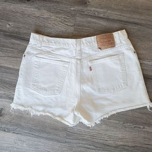 Vintage Levi's White Cut Off High Rise Jean Shorts